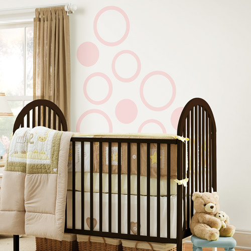 WallPops - Concentric Dots 4-Piece Set, Gigi Pink