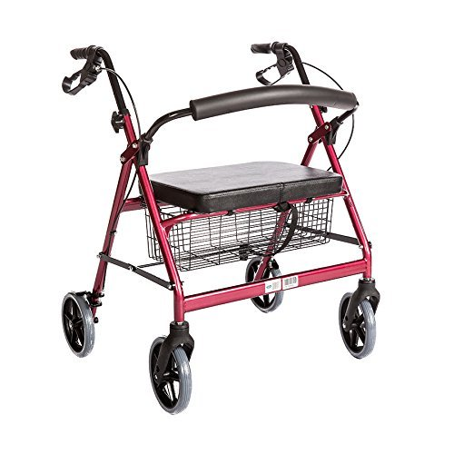 Bariatric Rollator Walker Heavy Duty with Large Padded Seat up to 400 Lb Capacity (Red) By Healthline Trading