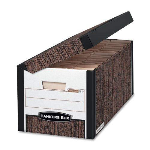 "Bankers Box Systematic - Letter, Woodgrain - Taa Compliant - Stackable - Medium Duty - 10.4"" Height X 13"" Width X 25.5"" Depth External Dimensions - Black, Wood Grain - File (FEL00051)"