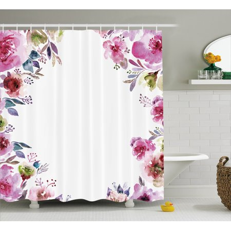 Floral Shower Curtain, Flower Background with Florets Blooms Bouquet Romance Bridal Watercolor Art, Fabric Bathroom Set with Hooks, 69W X 70L Inches, Fuchsia Green Blue, by Ambesonne - Bridal Shower Background
