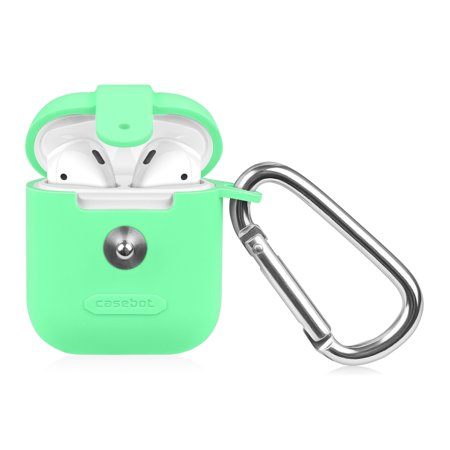 - Fintie AirPods Silicone Case Cover Skin with Keychain Carabiner, Green (Glow in the Dark)