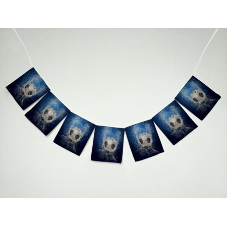 GCKG Sports Football Soccer Ball on Water Banner Bunting Garland Flag Sign for Home Family Party - Soccer Banners