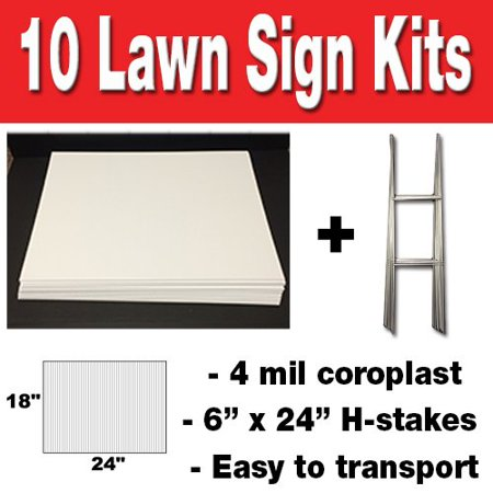 10 quantity Blank Yard Signs with h-stakes for Garage Sale Signs, Graduations, or Political Lawn Signs