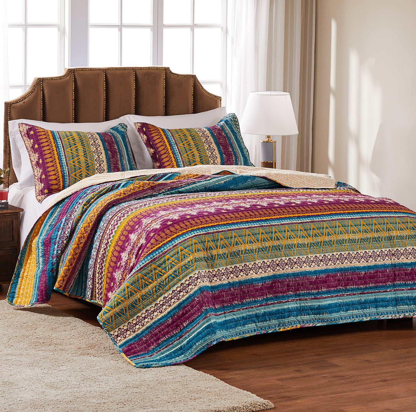 Global Trends Santa Fe 100 Cotton Oversized Quilt Set 2 Piece Twin Twin Xl Walmart Com Walmart Com