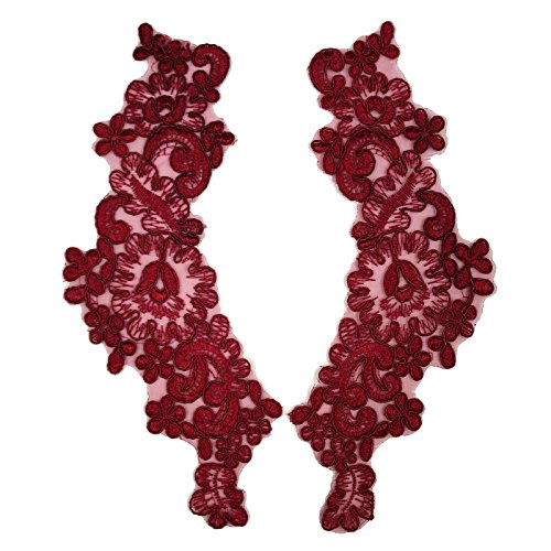 "Altotux 10""x3"" Corded Embroidered Motif Applique Home Decor Crafts by Pair (Burgundy)"