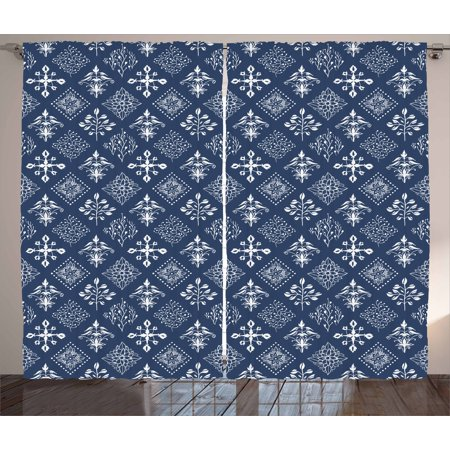 - Indigo Curtains 2 Panels Set, Mediterranean Floral Leaf Swirl Detailed Rectangular Armor Design Image, Window Drapes for Living Room Bedroom, 108W X 84L Inches, Navy Blue and White, by Ambesonne