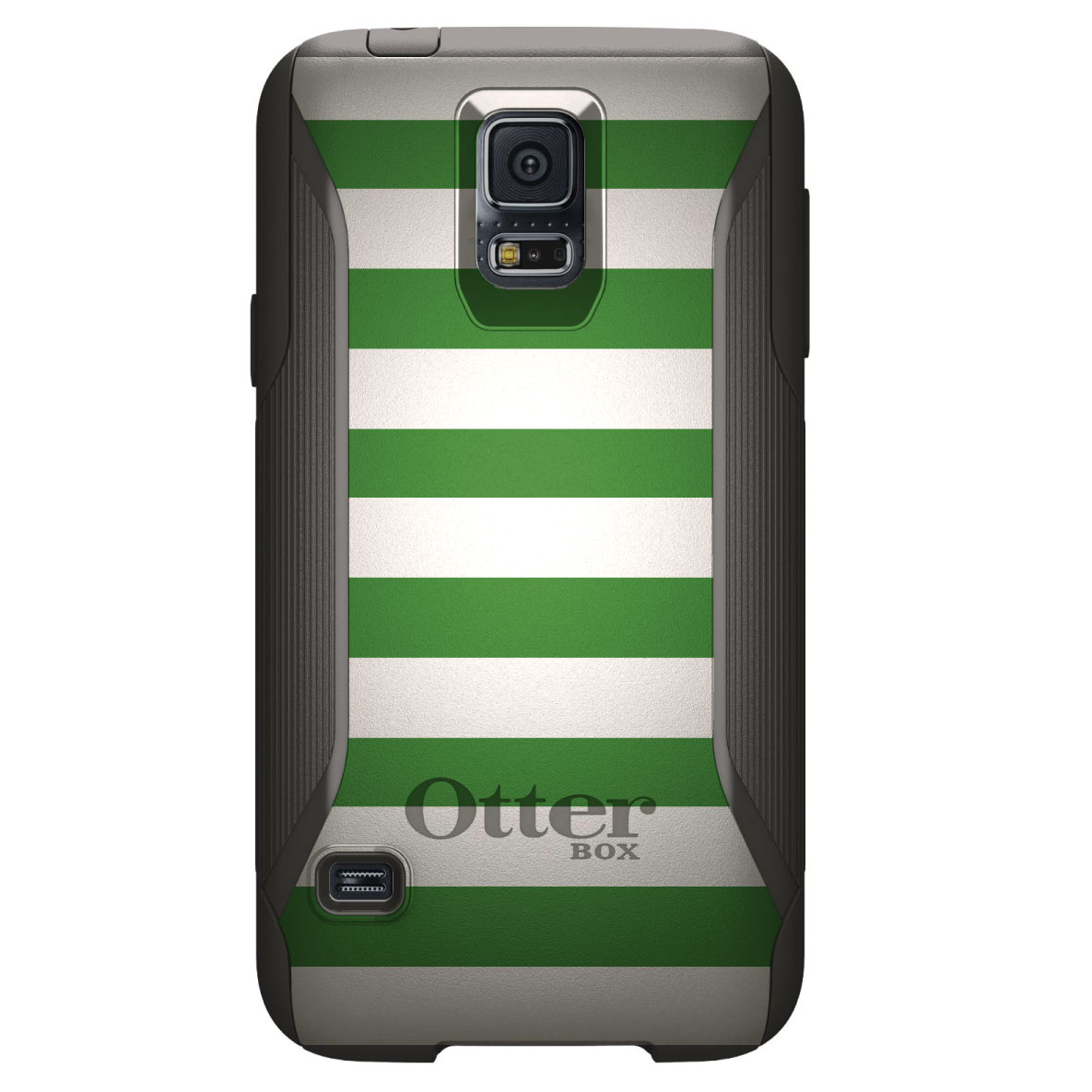 DistinctInk™ Custom Black OtterBox Commuter Series Case for Samsung Galaxy S5 - Green & White Bold Stripes
