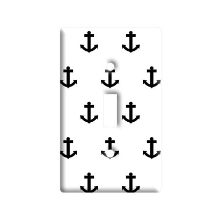 Ahoy Nautical Boat Theme Black White Light Switch Plate Cover (Nautical Switch Plate)