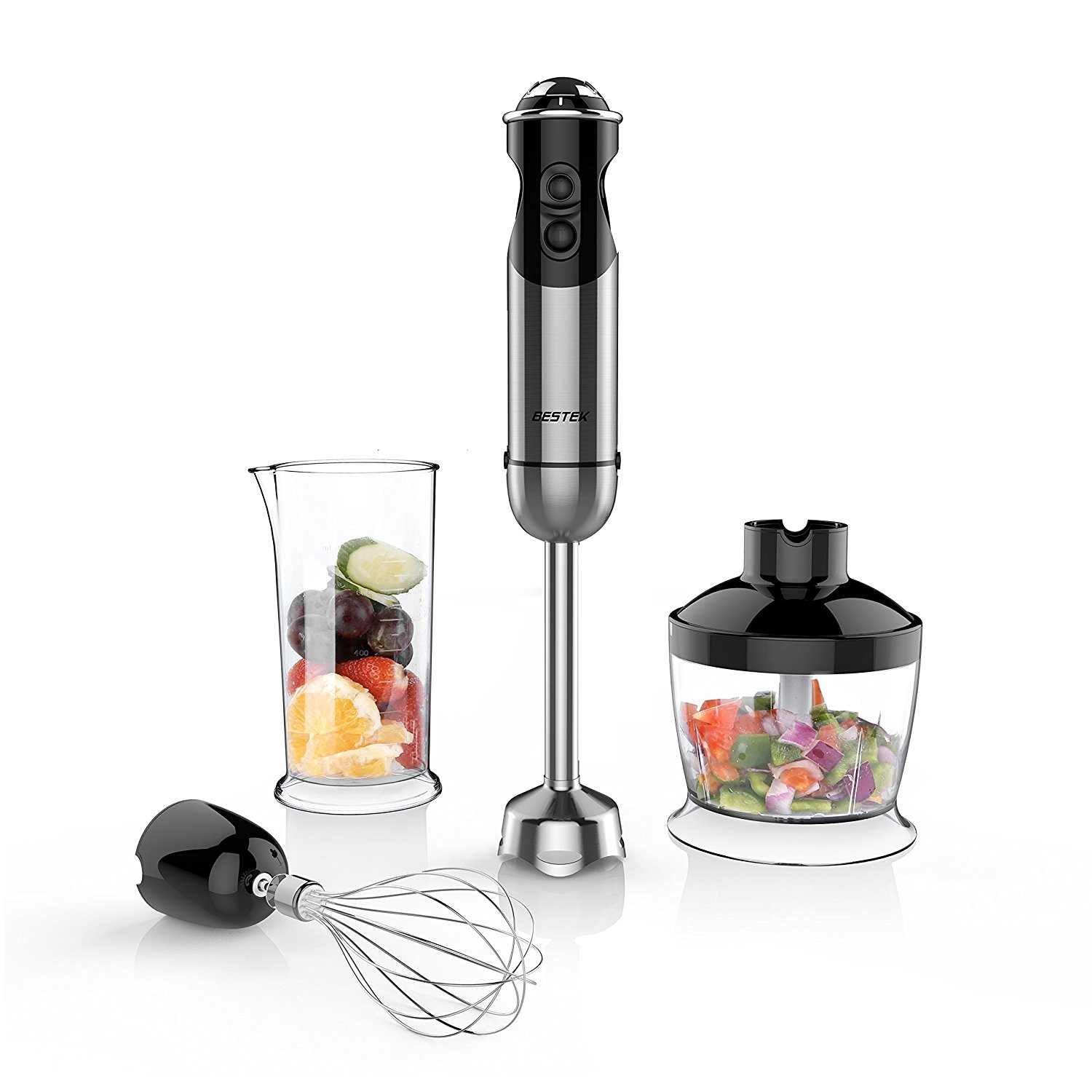 BESTEK 350W 4-in-1 Immersion Hand Blender Set for Smoothies Baby Food Yogurt Sauces Soups
