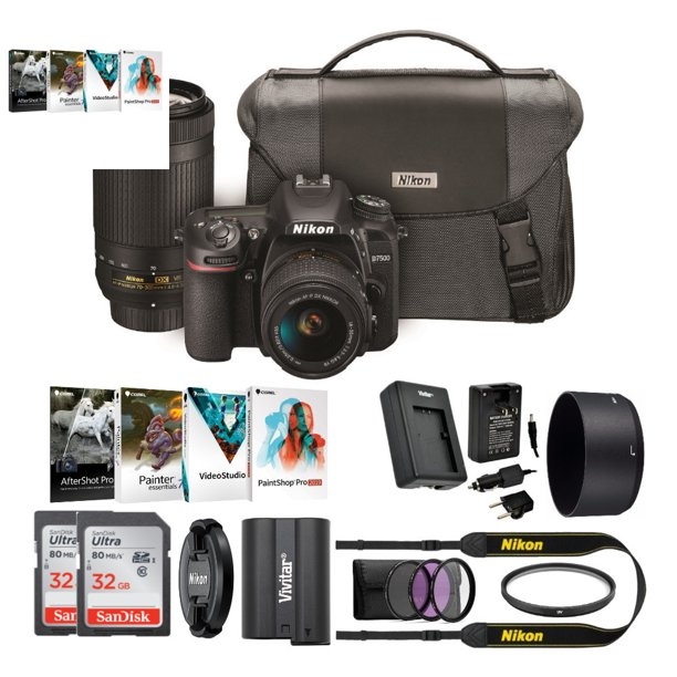 Nikon D7500 DSLR Camera with 18-55mm and 70-300 VR Lenses and Accessory Bundle