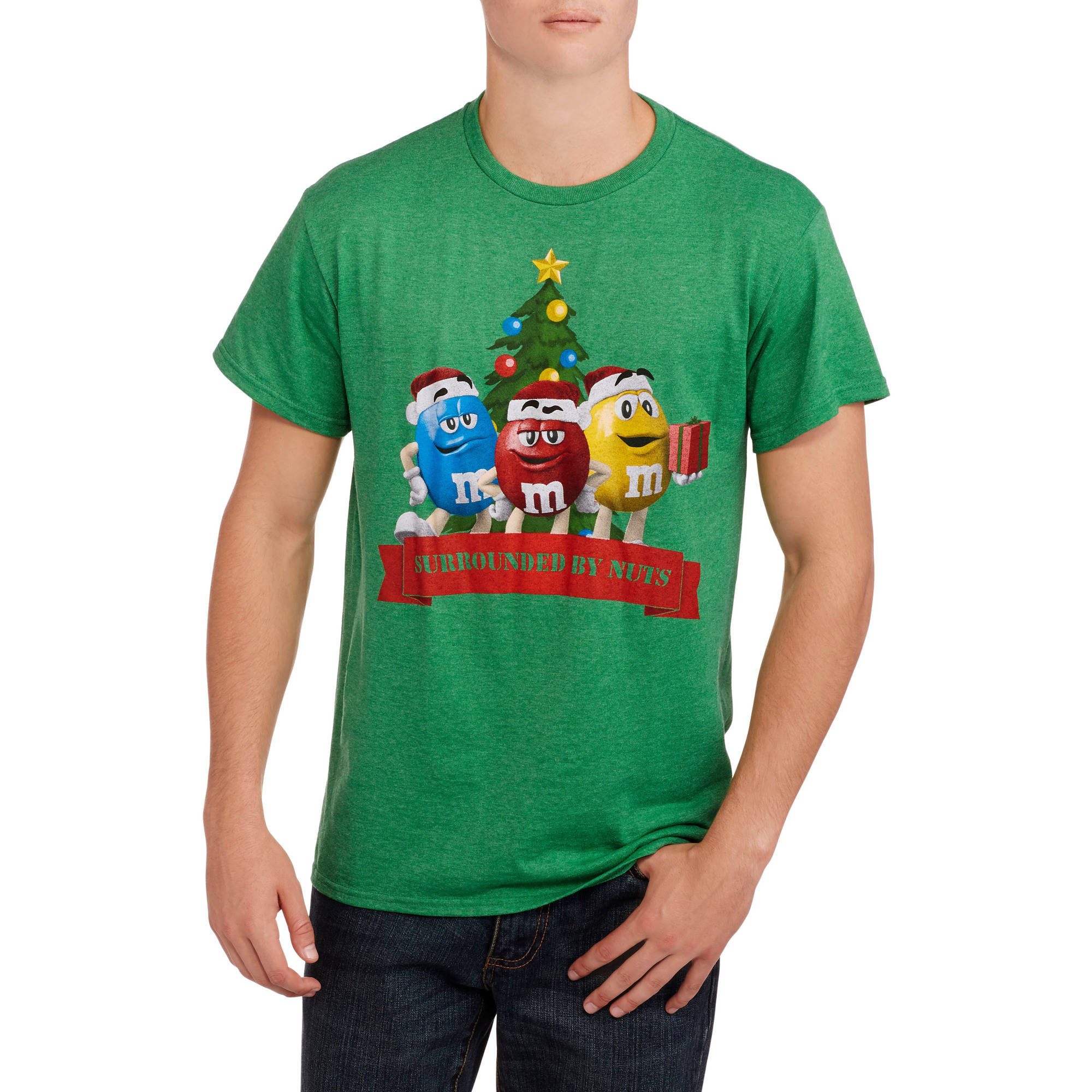 M&M's Big Men's Surrounded by Nuts Christmas Graphic Tee, 2XL