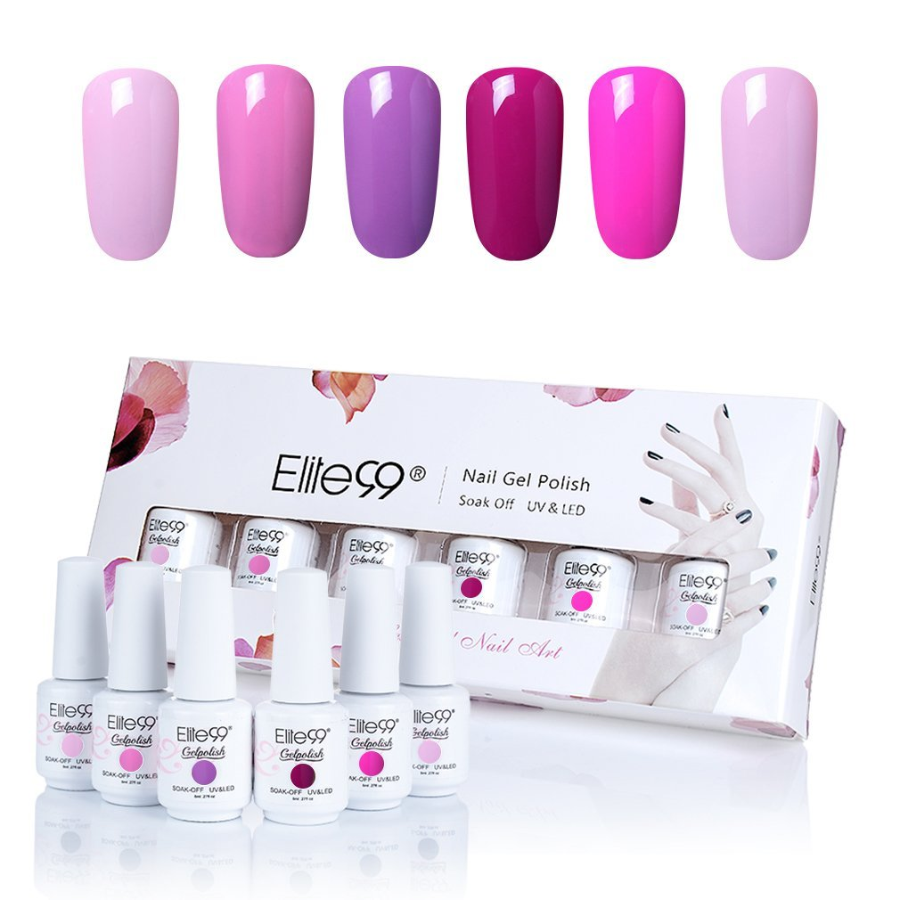 Elite99 Gel Nail Polish, Soak-off UV LED Gel Polish Nail Art Manicure Gift Box Set of 6 8ml C002