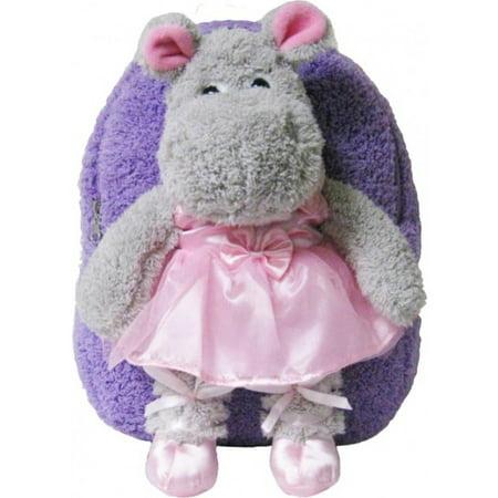 Kids Pink Purple Ballet Hippo Animal Plush Toddlers Backpack - Fantasia Hippo Ballet