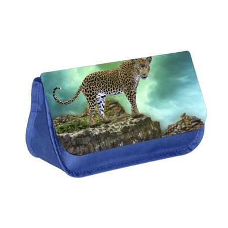 - Leopard - Blue Medium Sized Makeup Bag with 2 Zippered Pockets and Velcro Closure