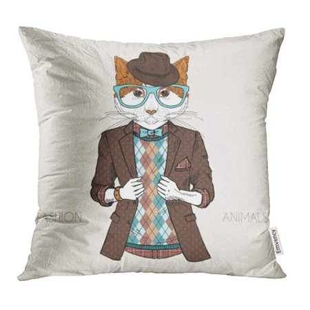 Tv Characters To Dress Up As (ARHOME Animal of Cat Dressed Up in Hipster Style Human Man Funny Boy Cool Character Pillowcase Cushion Cover 16x16)