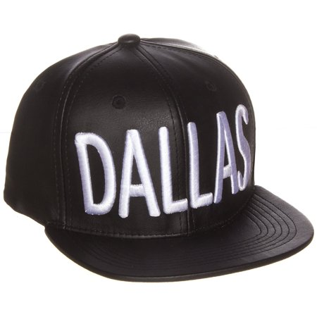 American Cities Faux Leather Block Embroidered Letters Flat Snapback Cap Hat -