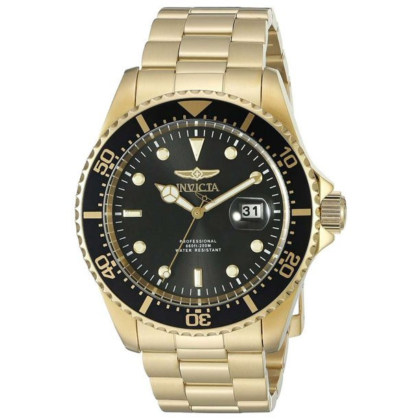 Invicta Men's Pro Diver Scuba Champagne Dial Gold Steel Bracelet Dive Watch