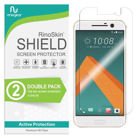 (2-Pack) HTC 10 / One M10 Screen Protector RinoGear Flexible HD Invisible Clear Shield Anti-Bubble Unlimited Replacement Film (Hkc Replacement Screen)