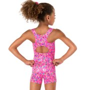 Child and Toddler Foil Heart Tank Gymnastics Biketard