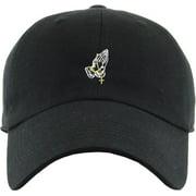 157bfc58f3374 Praying Hands Rosary Black Dad Hat Baseball Cap Polo Style Adjustable  Flexfit Nike Adidas City Hunter