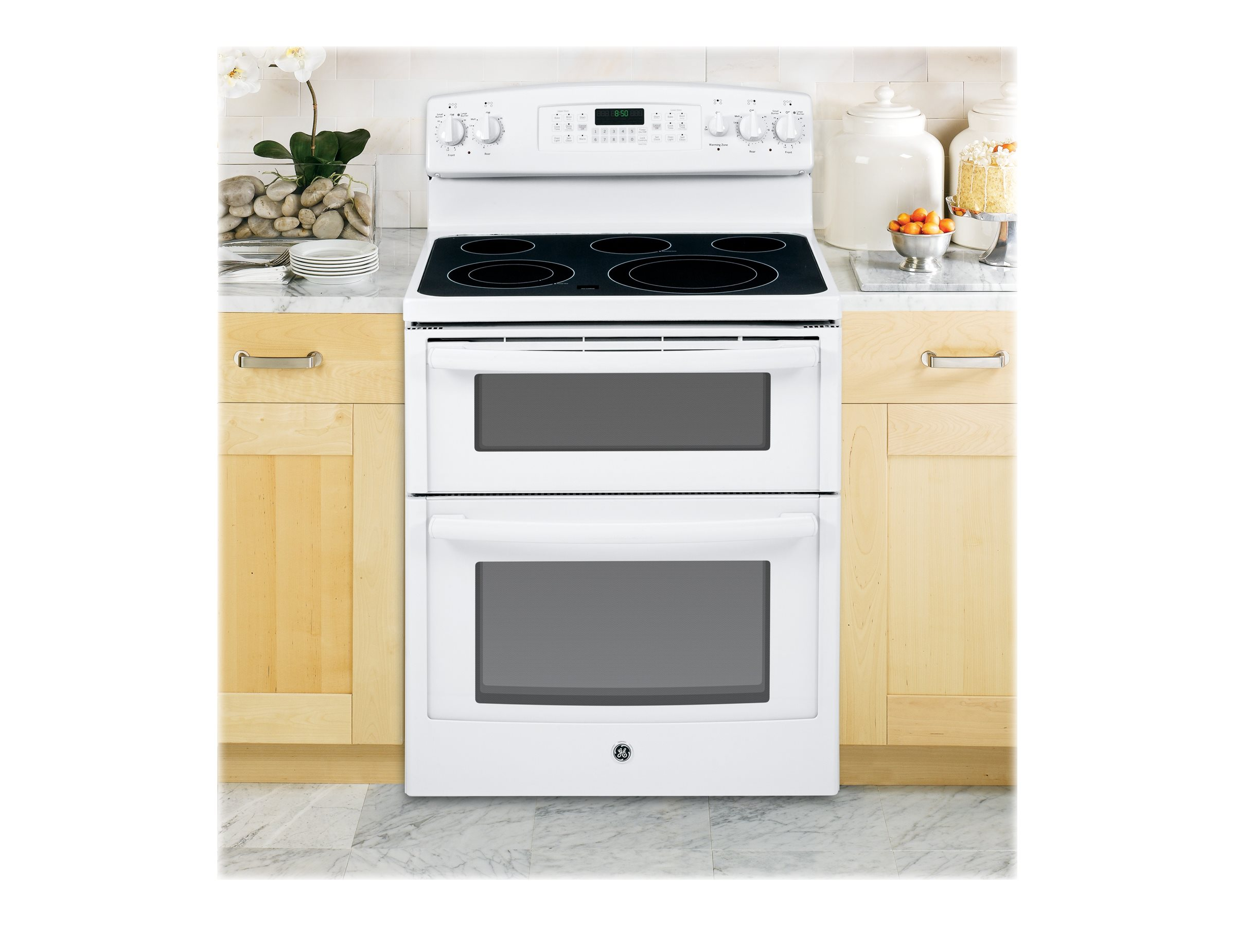 GE JB850DFWW 6.6 cu. ft. Freestanding Smoothtop Electric Double ...