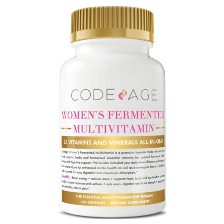 Women's Fermented Multivitamin with Vegan Omega 3-120 Count - Made with Real Food, Fermented Herbs, Raw Organic Extracts, Best Supplement for Energy Heart Digestive Health, Vegan