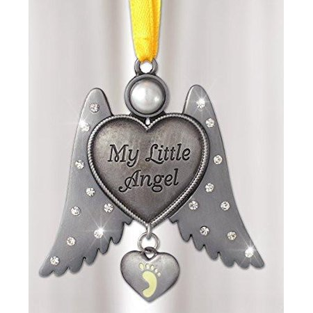 Jeweled Angel Hanging Ornament Baby Footprint Heart Shaped Charm - Heart Shaped Ornaments