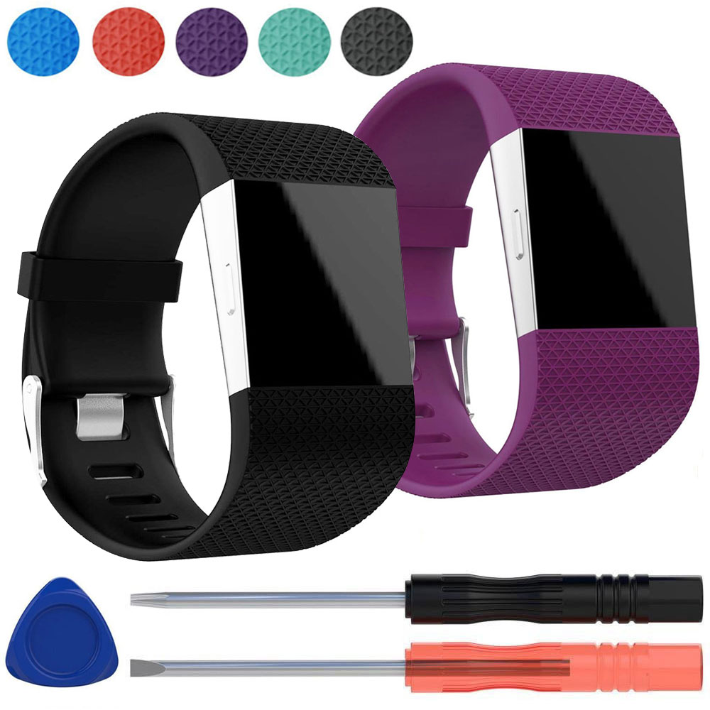 2-pack Replacement Silicone Band Wrist Strap Bracelet w/Tool Kit for Fitbit Surge Large