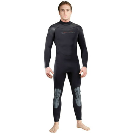 Akona Mens 7mm Quantum Stretch Cold Water Wetsuit (Black, Large)