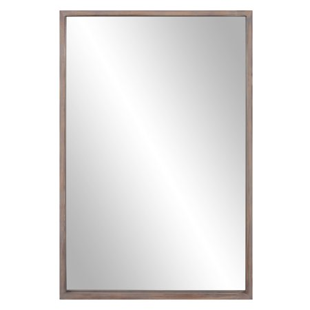 Natural Woodgrain Narrow Framed Wall Accent Mirror 24