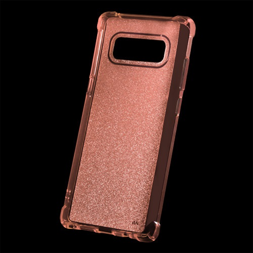MUNDAZE Rose Gold Sheer Glitter Premium Flexible Case For Samsung Galaxy Note 8 Phone