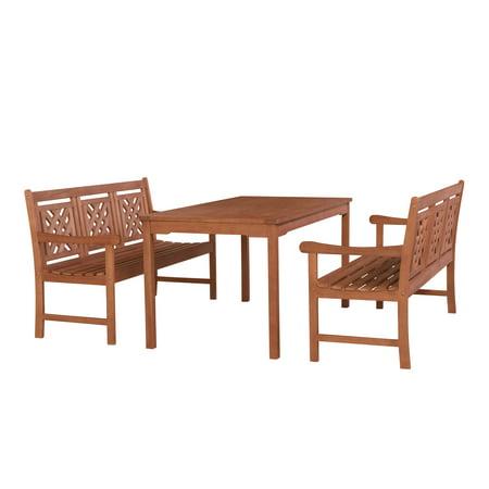 Malibu Outdoor 3 Piece Wood Patio Rectangular Table Dining