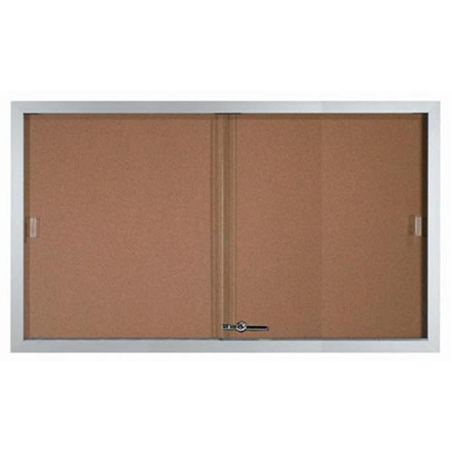 Aarco SBC3660 Enclosed Bulletin Board Cork Aluminum Frame - Clear Satin Anodized