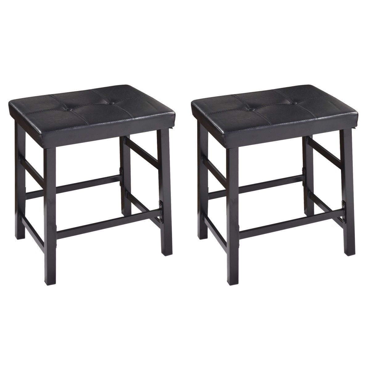 Costway Set Of 2 PU Leather Stools Backless Pub Bar Kitchen Dining Chairs  Furniture