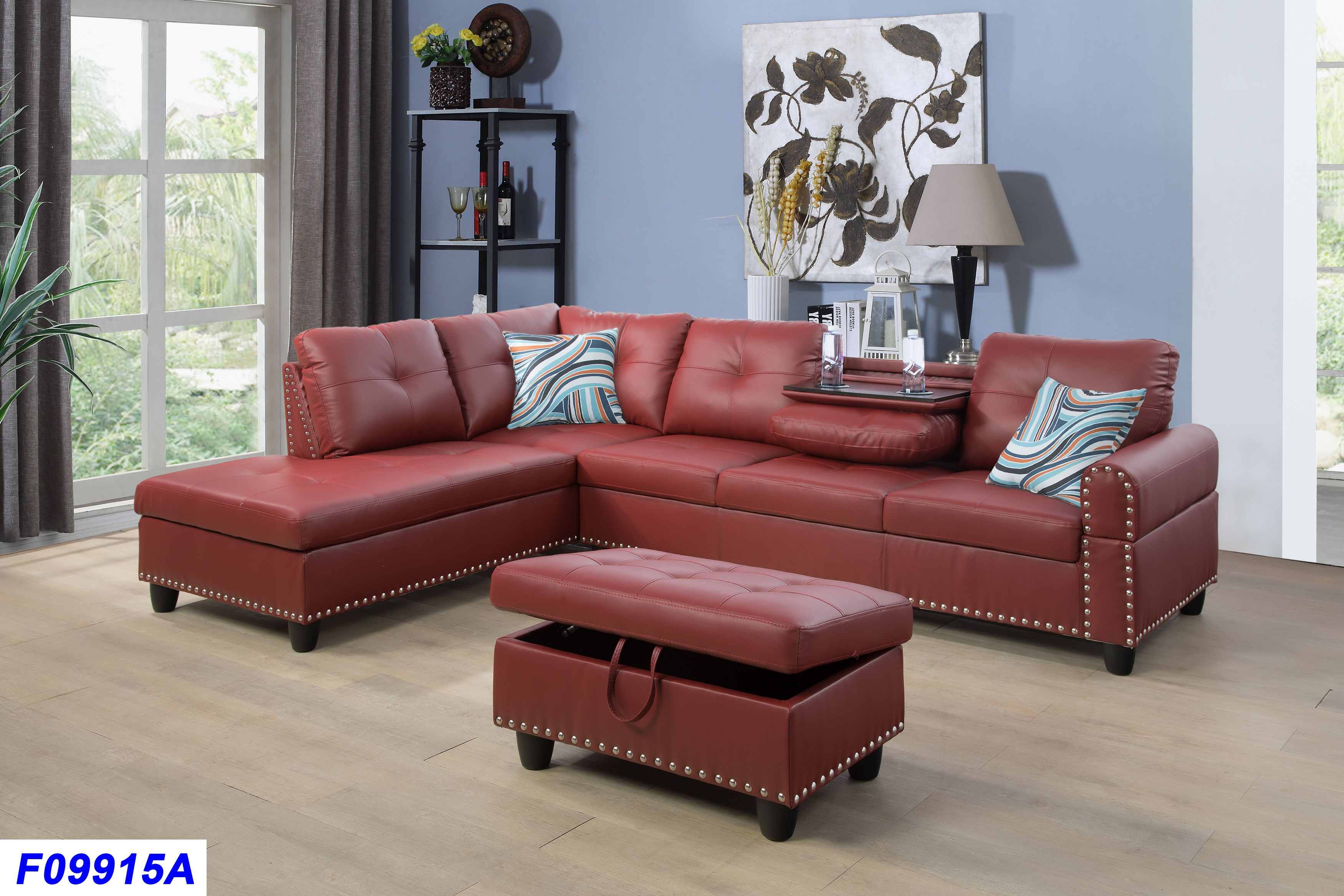 Kendall Red Polyester Sectional Sofa with Ottoman