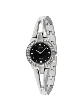 Seiko Women's Core 22mm Steel Bracelet & Case Hardlex Crystal Solar Black Dial Analog Watch SUP205