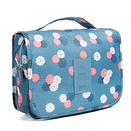 Coolmade Toiletry Bag Multifunction Cosmetic Bag Portable Makeup Pouch Waterproof Travel Hanging Organizer Bag for Women Girls, Blue Flowers (Blue)