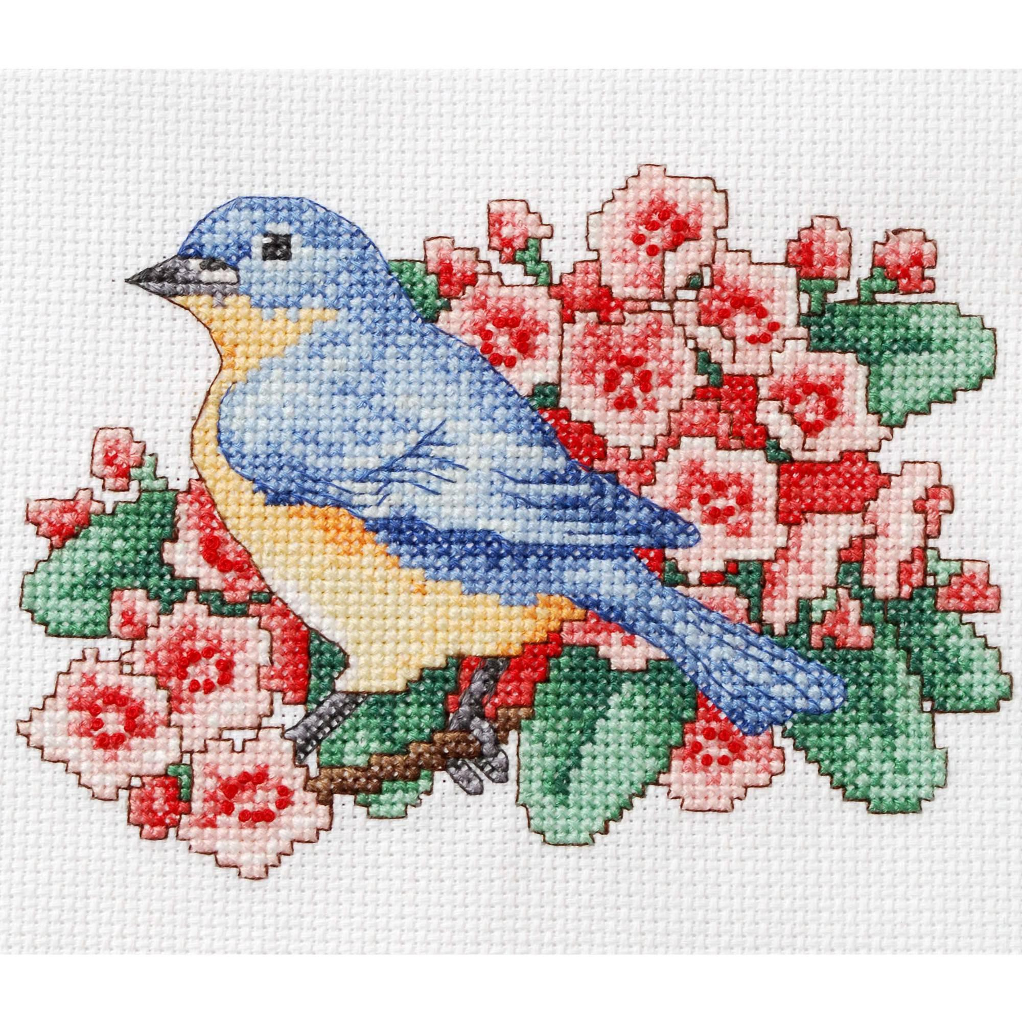 "Bucilla   Counted Cross Stitch Mini Picture Kit by Plaid, Blue Bird, 5"" x 7"""