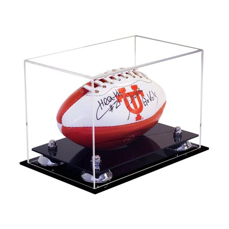 Miniature Football Display - Deluxe Clear Acrylic MINI - Miniature (not full size) Football Display Case with Silver Risers (A005-SR)