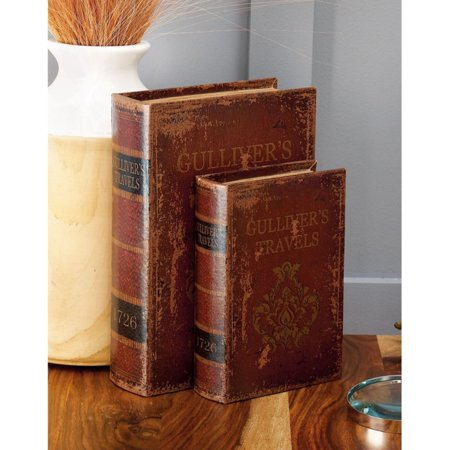 Decmode Wood and Leather Book Box, Set of 3, Multi Color
