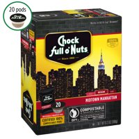 Chock full o'Nuts Midtown Manhattan K-Cup Coffee Pods, Medium Roast, 20 Count Box