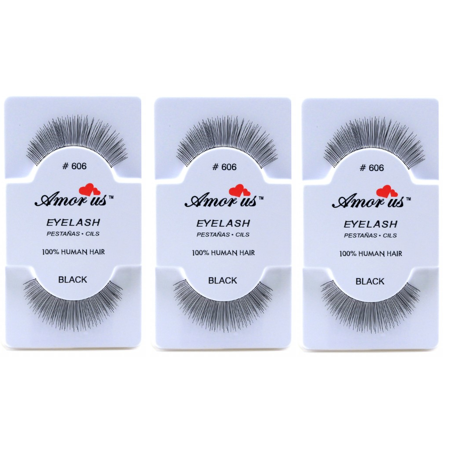 LWS LA Wholesale Store  3 Pairs AmorUs 100% Human Hair False Long Eyelashes # 606 compare Red Cherry - Longs Wholesale