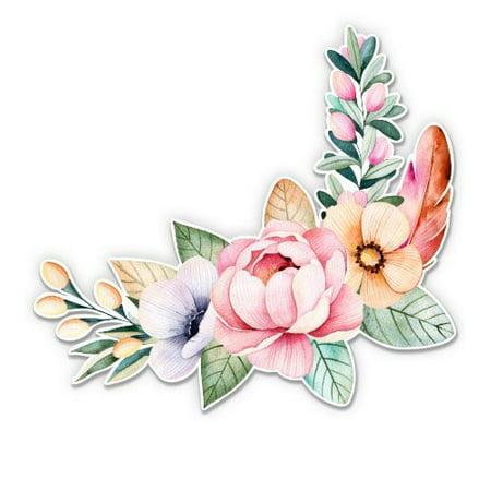 Flower Bouquet Watercolor Boho Art - Vinyl Sticker Waterproof Decal Sticker 5