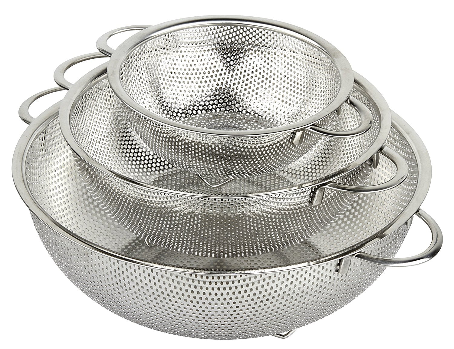 holm 3-Piece Stainless Steel Mesh Micro-Perforated Colander Set (1-Quart, 2.5-Quart and 4.5-Quart) by