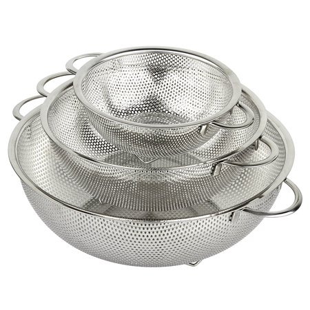 holm 3-Piece Stainless Steel Mesh Colander Set (1-Quart, 2.5-Quart and 4.5-Quart)