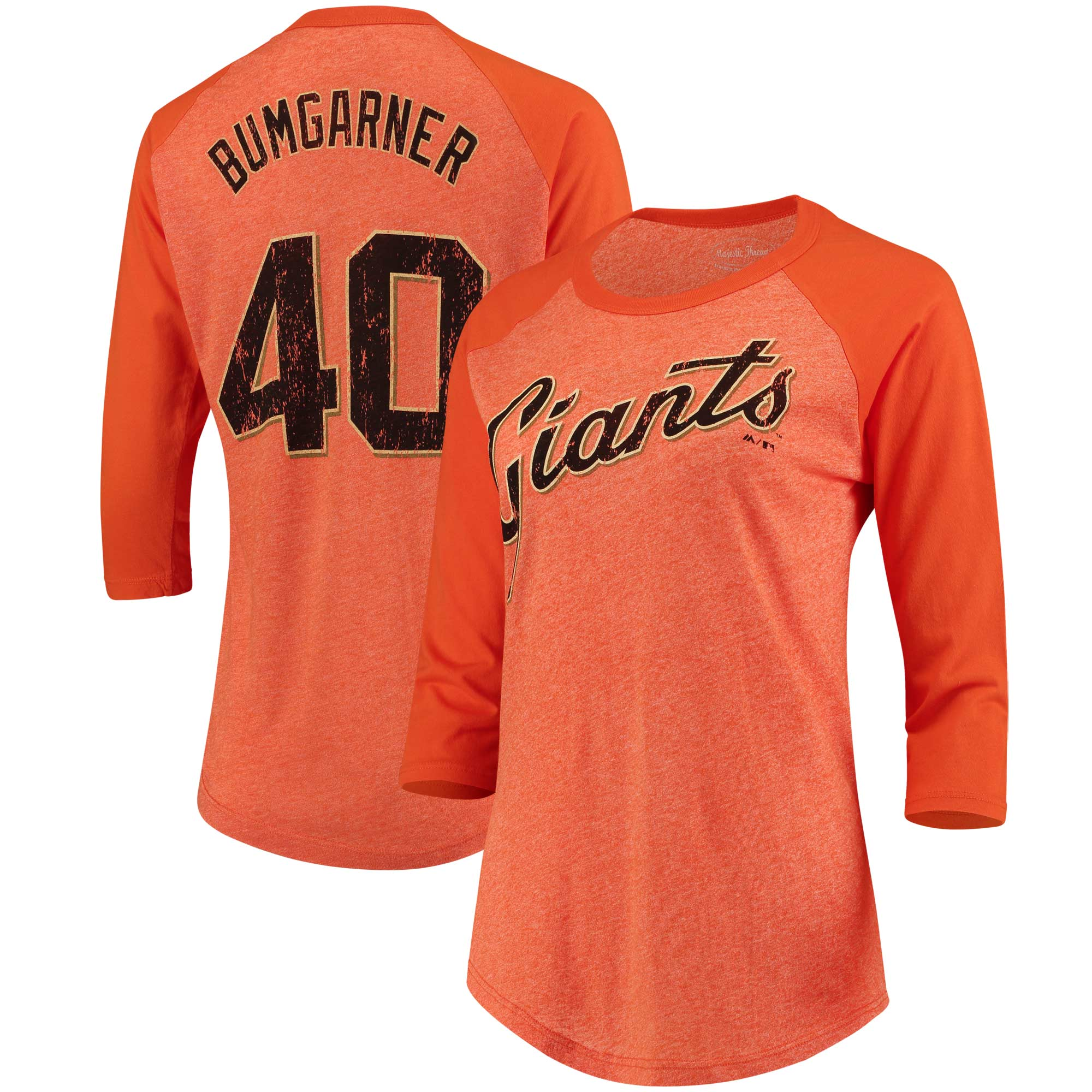 Madison Bumgarner San Francisco Giants Majestic Threads Women's Name & Number Tri-Blend Three-Quarter Length Raglan T-Shirt - Orange