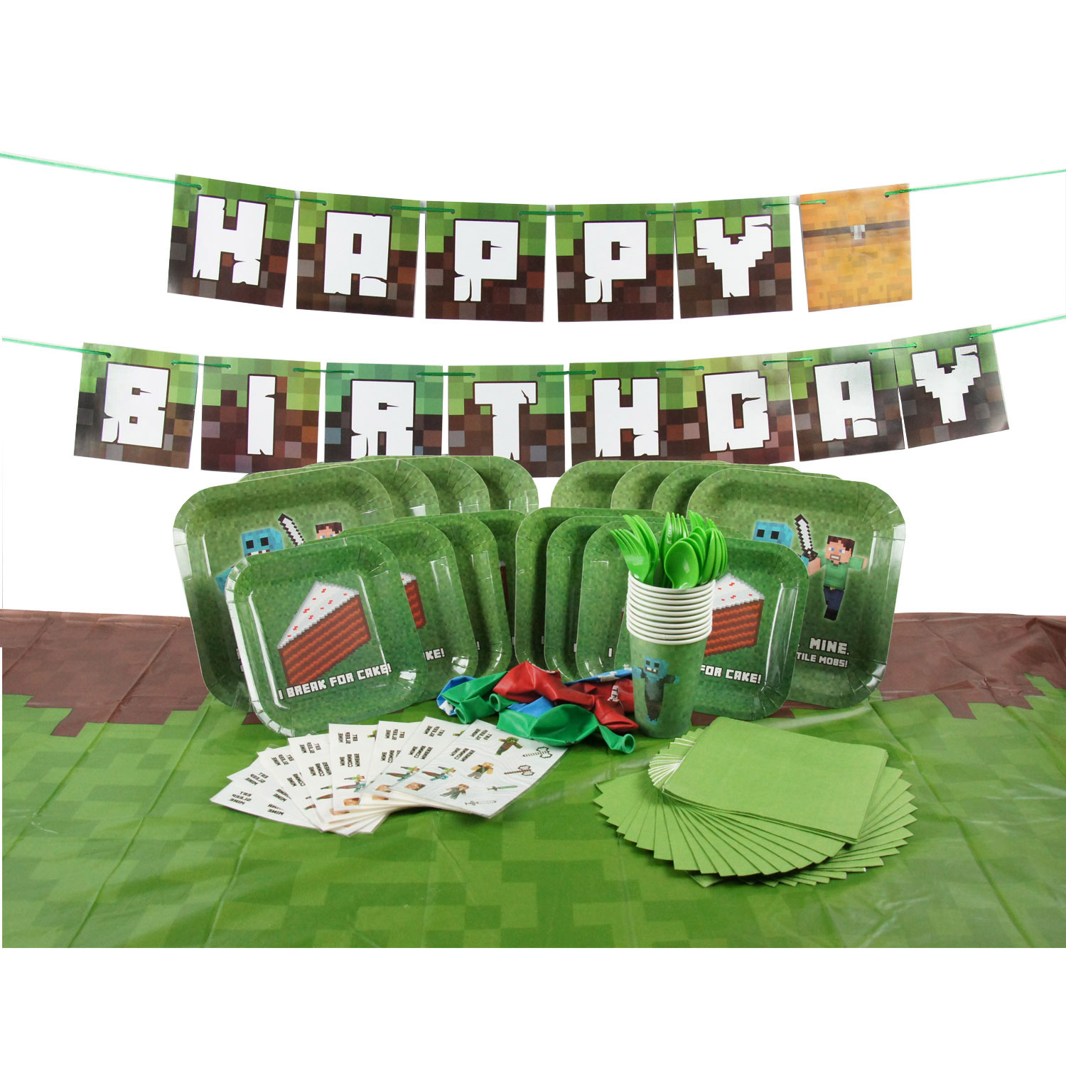 Complete Tableware for Mine Crafter Themed Birthday Parties with Happy Birthday Banner! (Service for 8)