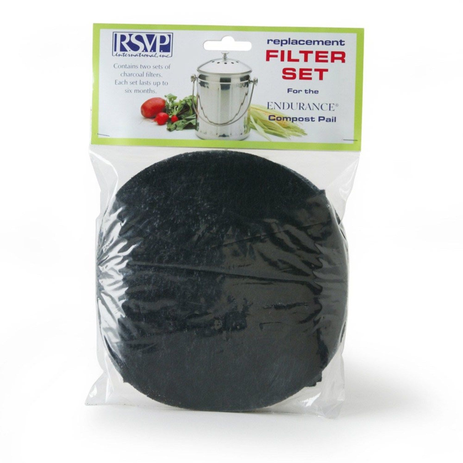 RSVP 2 Replacement Filters Jumbo Compost Pail Keeper Bucket (Pail-Xl) FLTR-XL by RSVP
