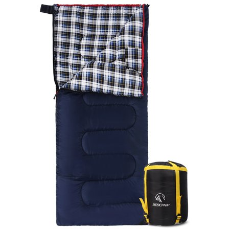 REDCAMP 40 - 60 Degrees Cotton Flannel Sleeping Bag for - Kids Cotton Sleeping Bag