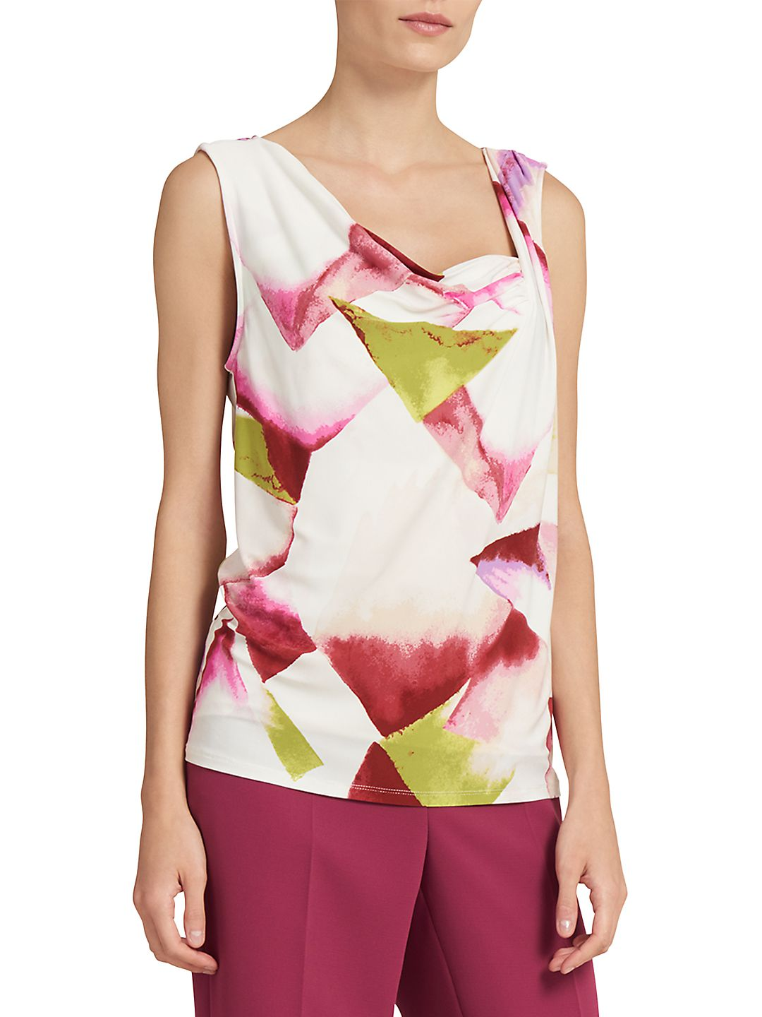 Sleeveless Printed Ruched Neck Top